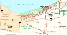 Indiana Dunes Area Road Map