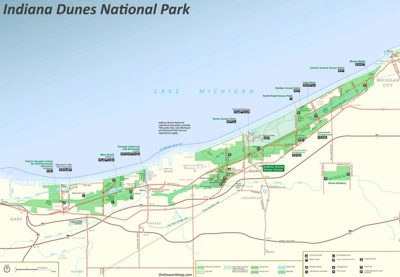 Map of Indiana Dunes