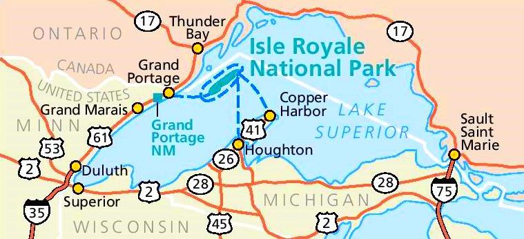 Isle Royale area road map