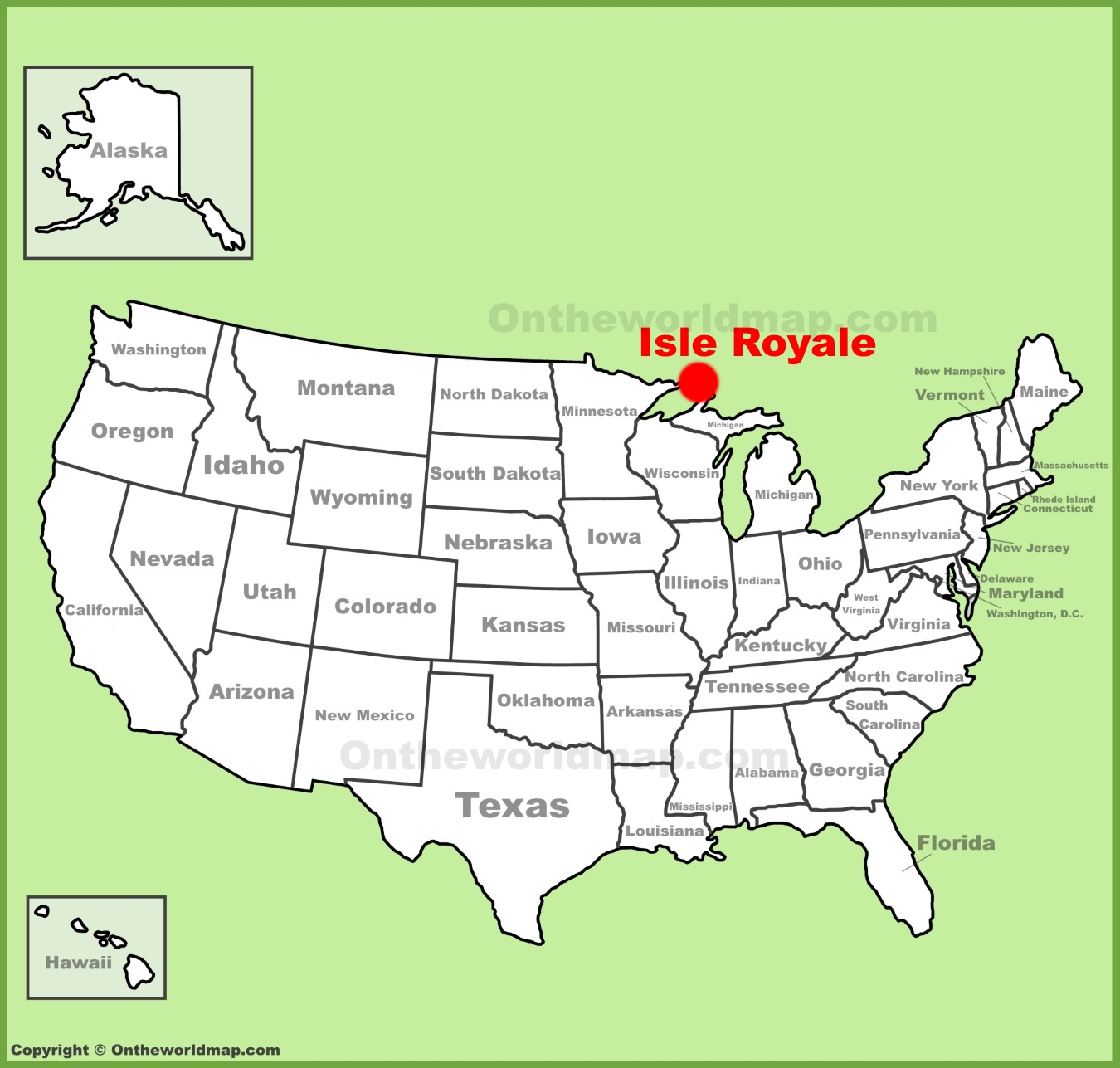 . isle royale location on the us map