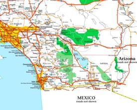 Joshua Tree National Park area road map