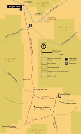 Joshua Tree Geology Tour Road map