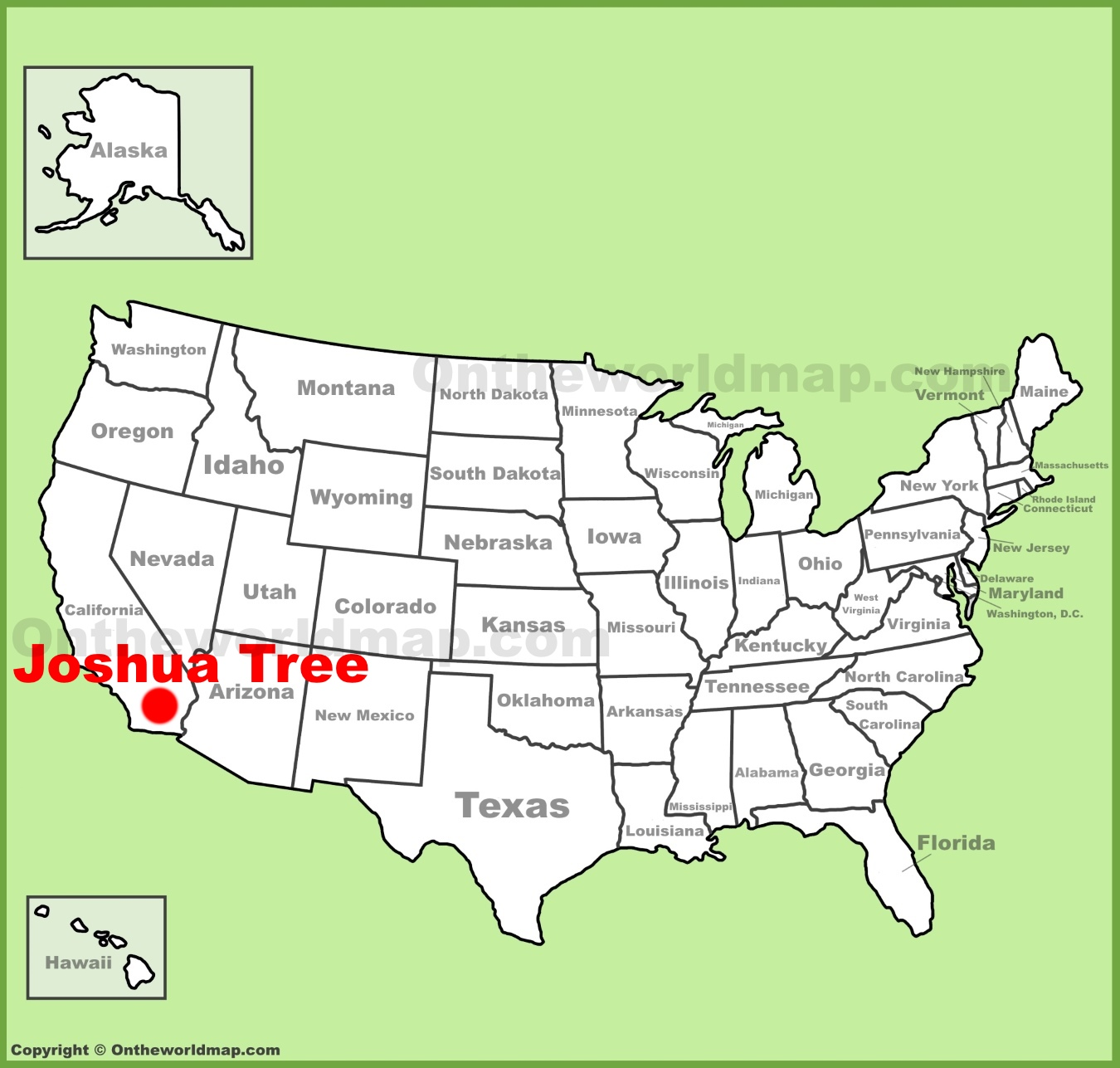 joshua tree location on the u s map