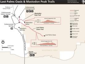 Lost Palms Oasis and Mastodon Peak Trails map
