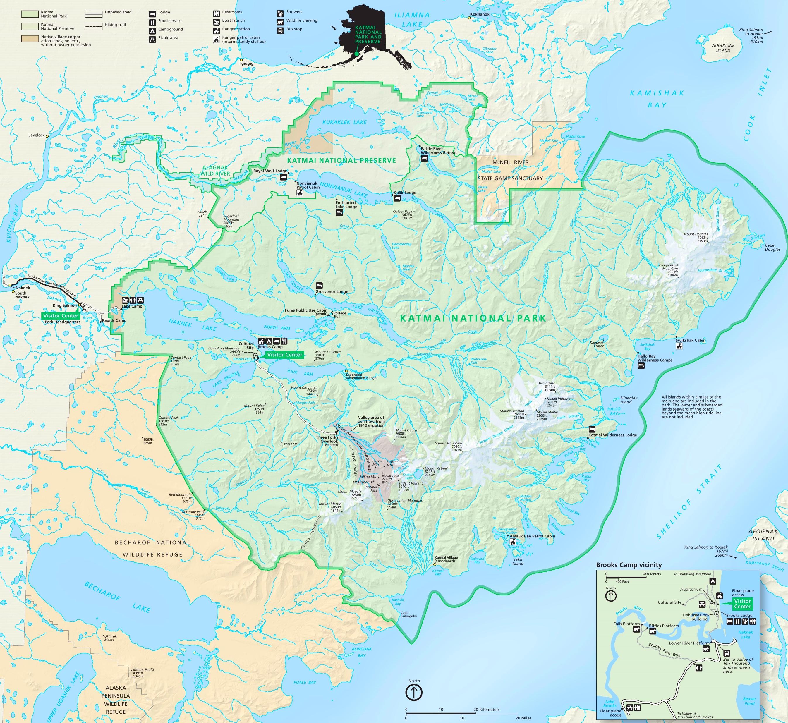 Katmai National Park Maps USA Maps of Katmai National Park and