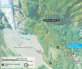 Kenai Fjords Exit Glacier map