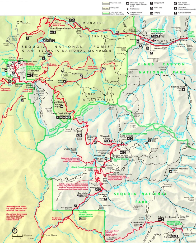 Detailed map of Kings Canyon and Sequoia National Parks