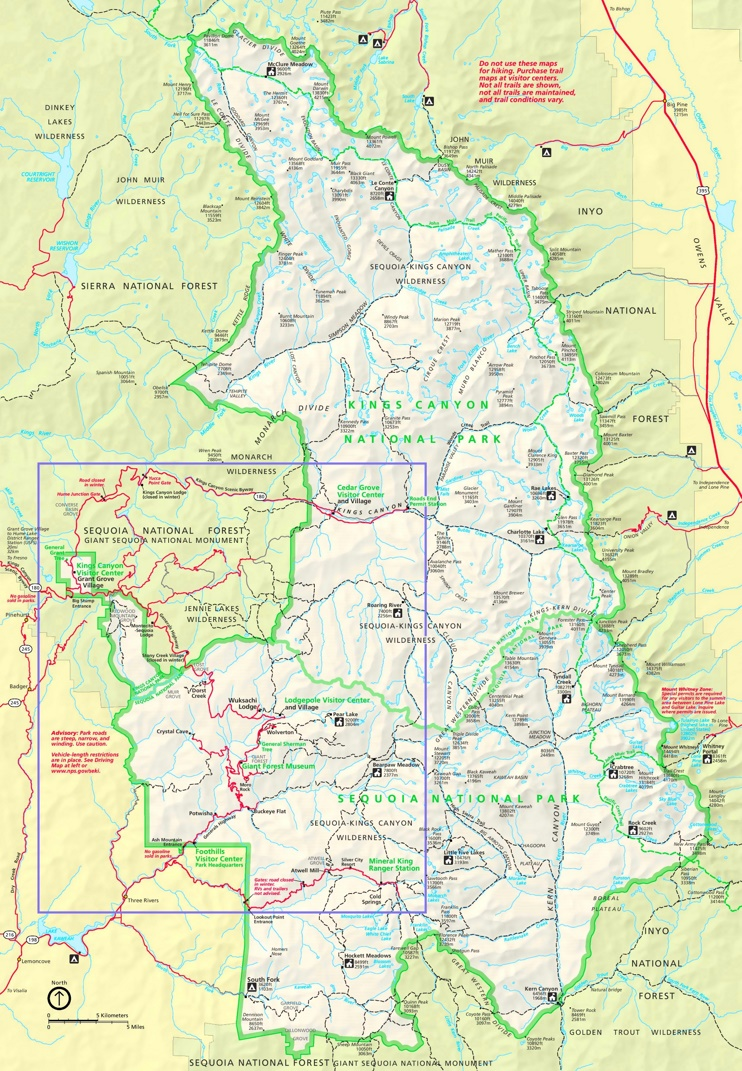 Sequoia and Kings Canyon National Parks trail map