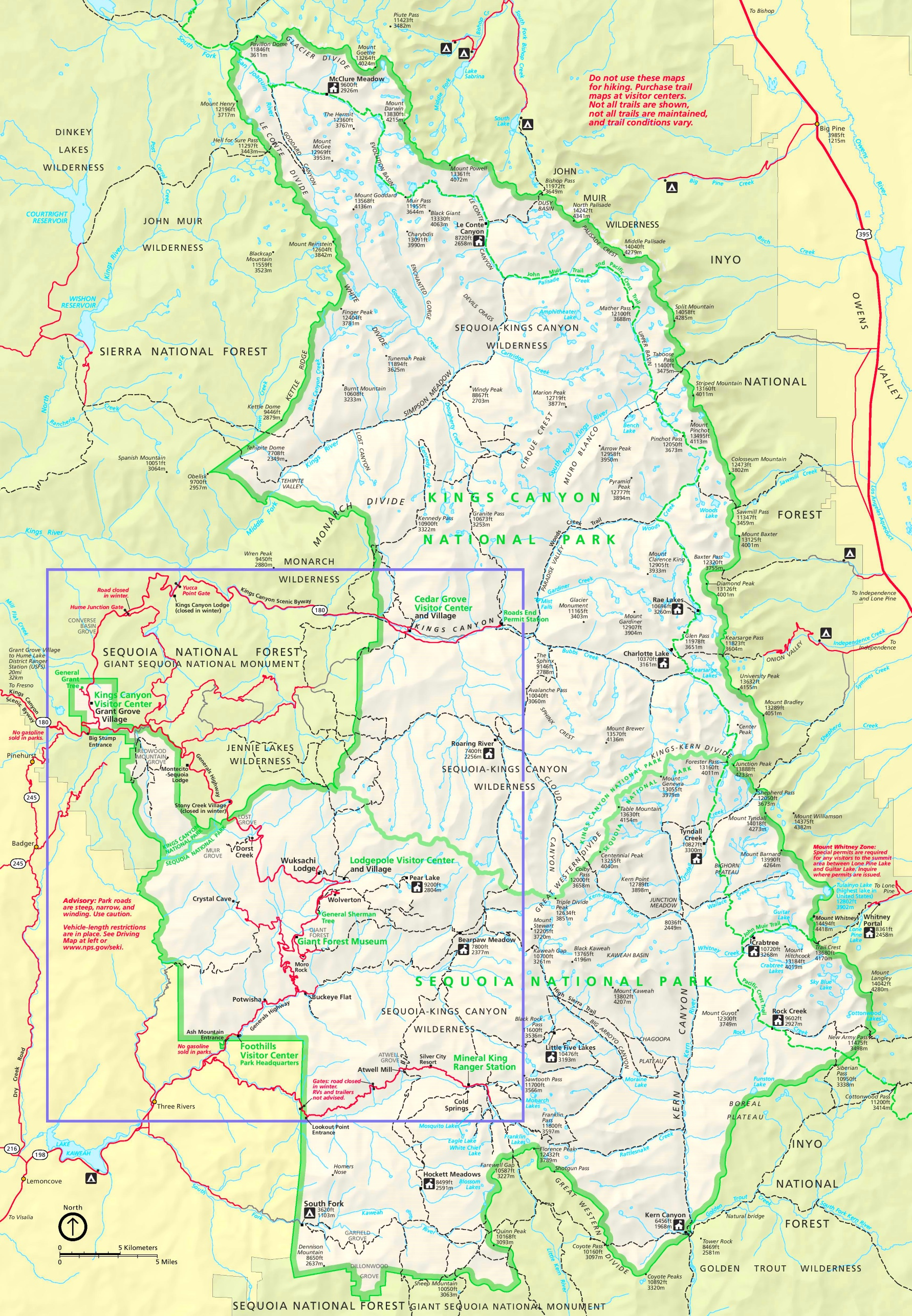. sequoia and kings canyon national parks trail map