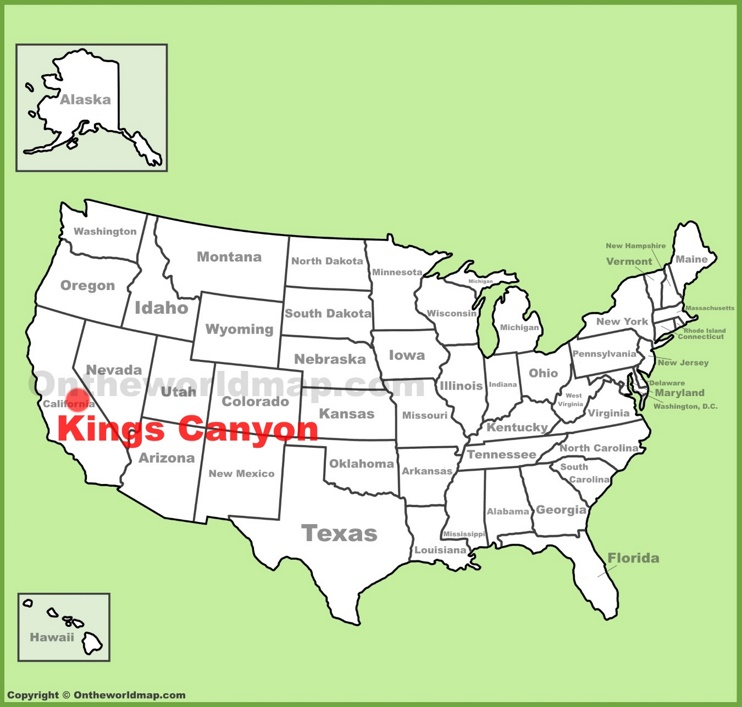 Kings Canyon National Park location on the U.S. Map