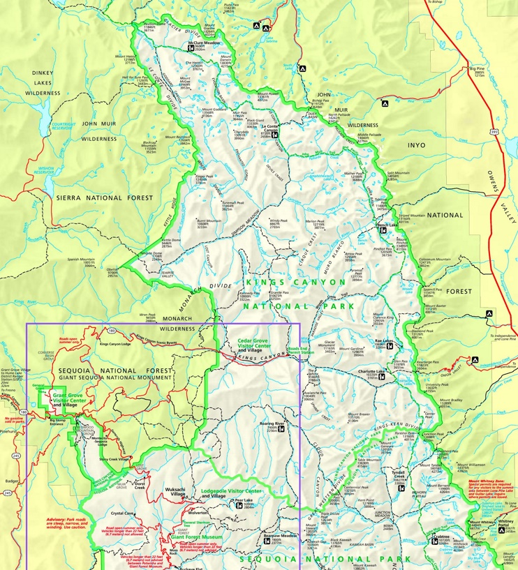 Kings Canyon National Park tourist map