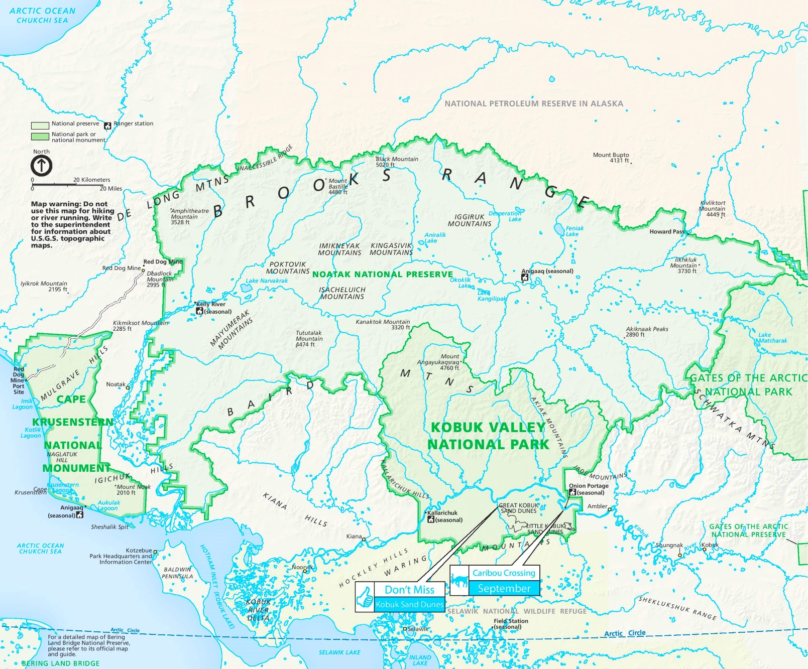 Kobuk Valley National Park tourist map