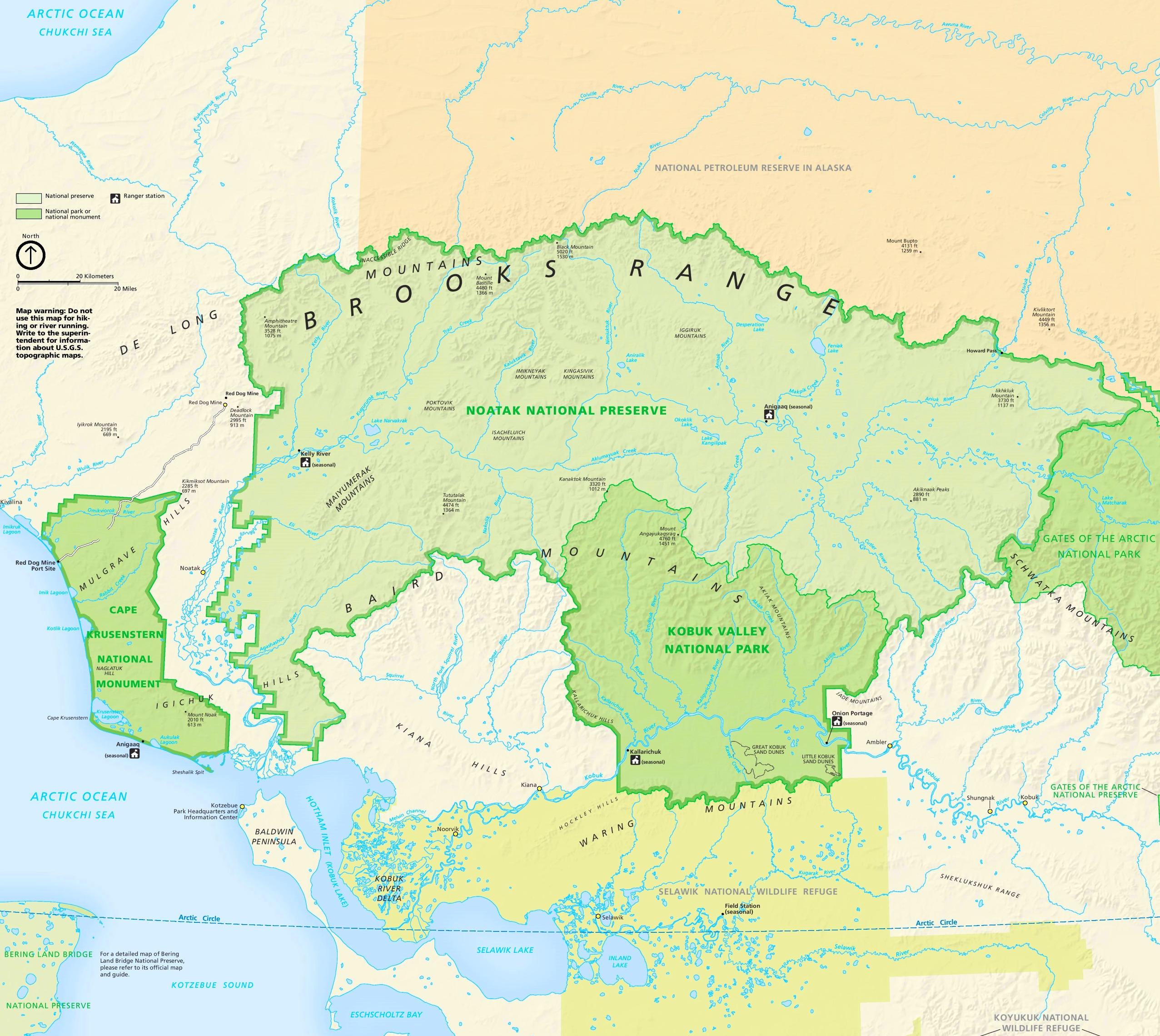 Large detailed map of Kobuk Valley National Park