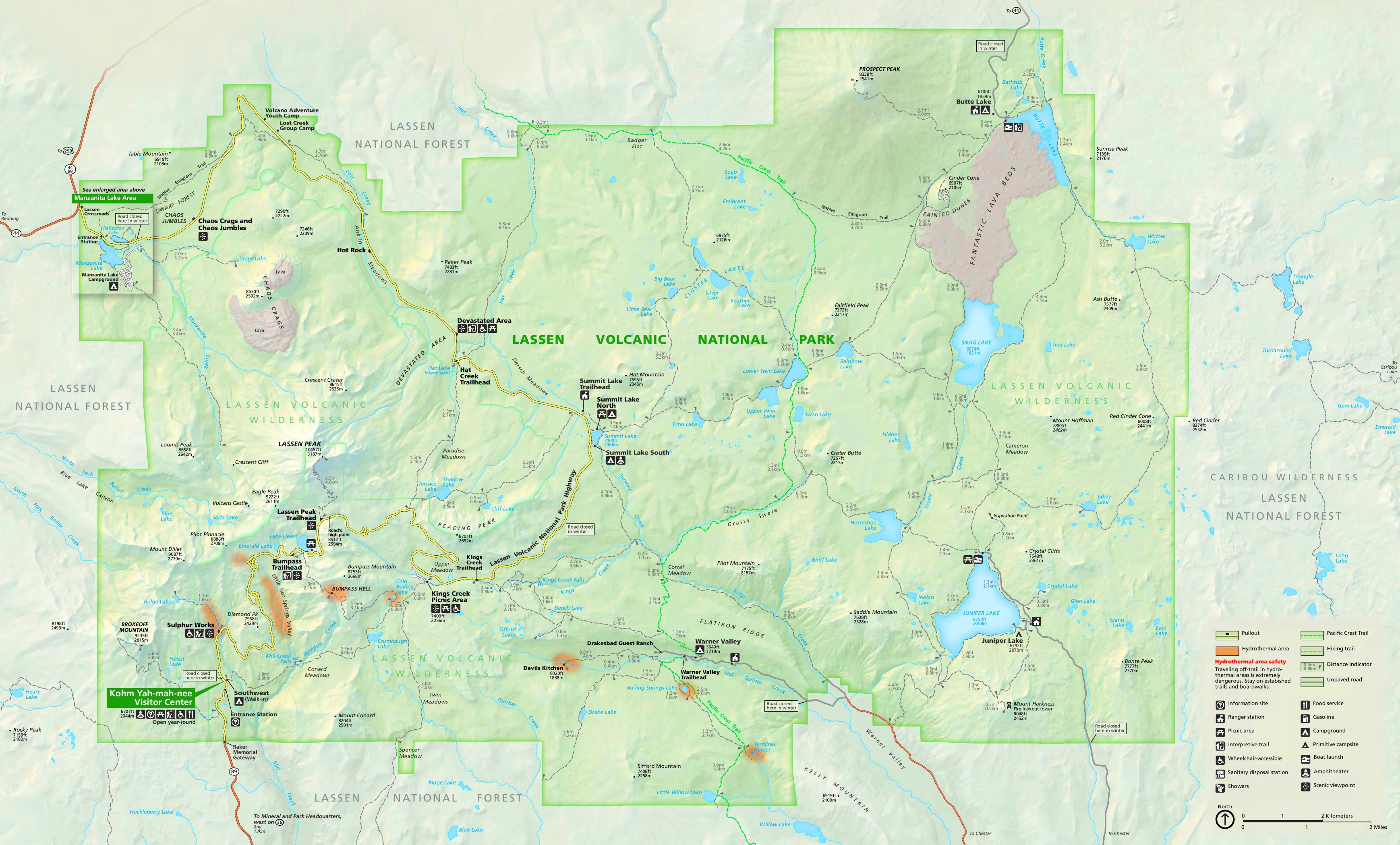 Large detailed tourist map of Lassen Volcanic National Park