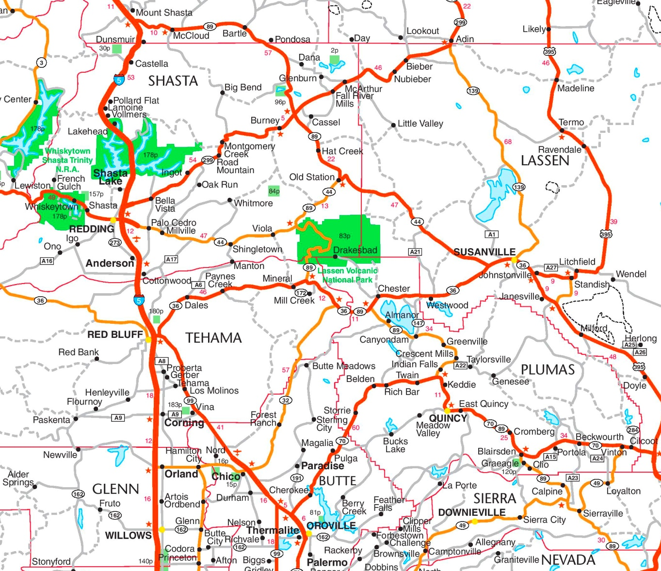 Lassen Volcanic National Park area road map