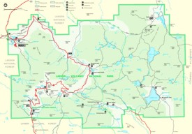 Lassen Volcanic National Park trail and camping map