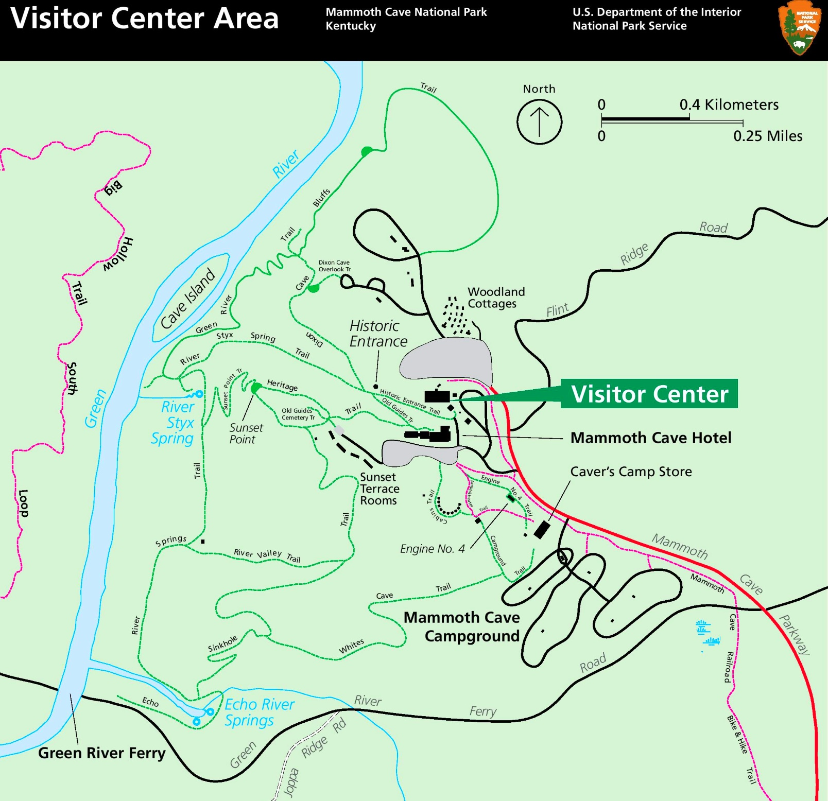 Mammoth Cave visitor center area tourist map