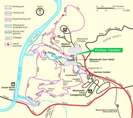 Mammoth Cave visitor center area trail map