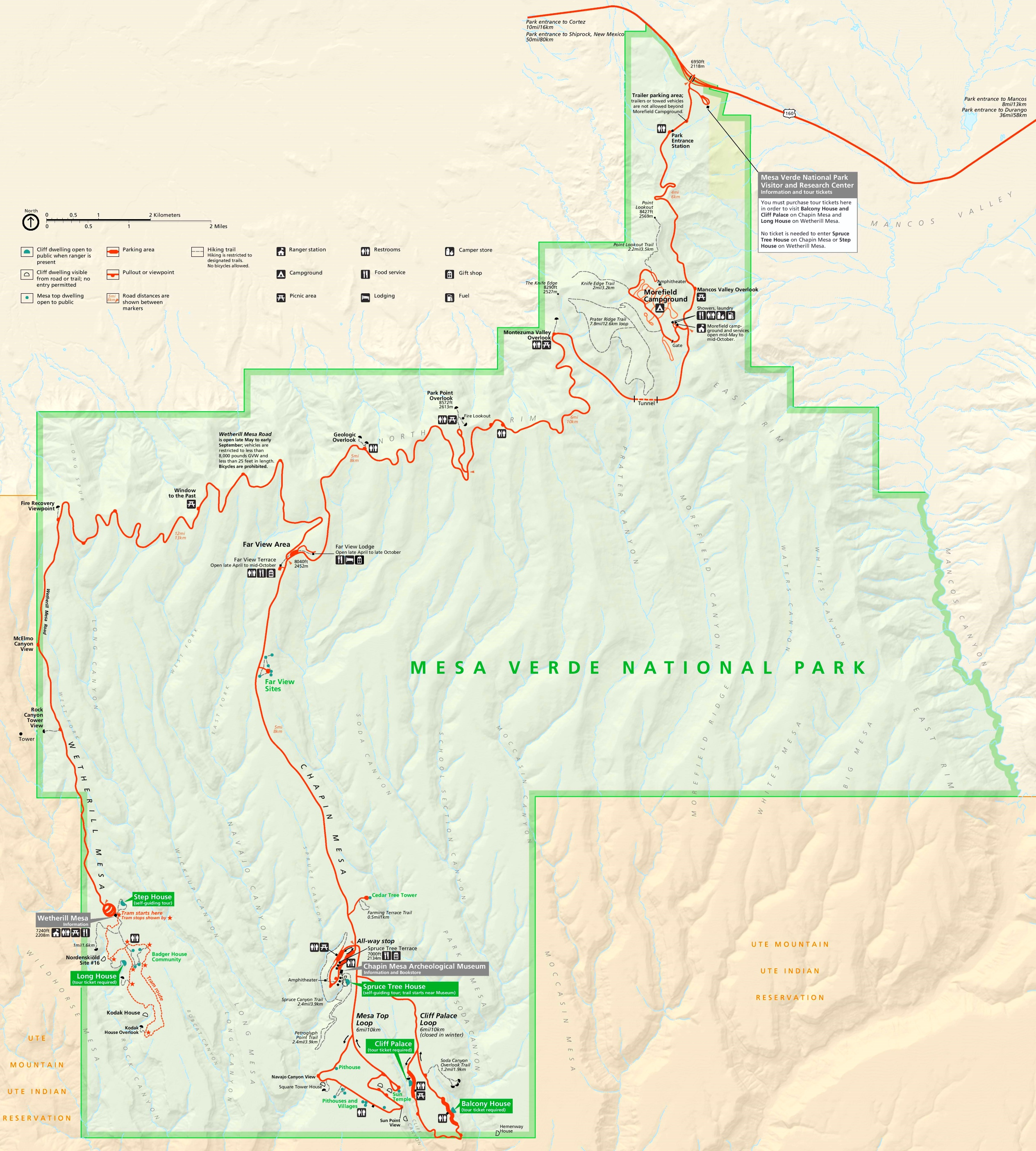 Large detailed tourist map of Mesa Verde