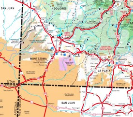 Mesa Verde area road map