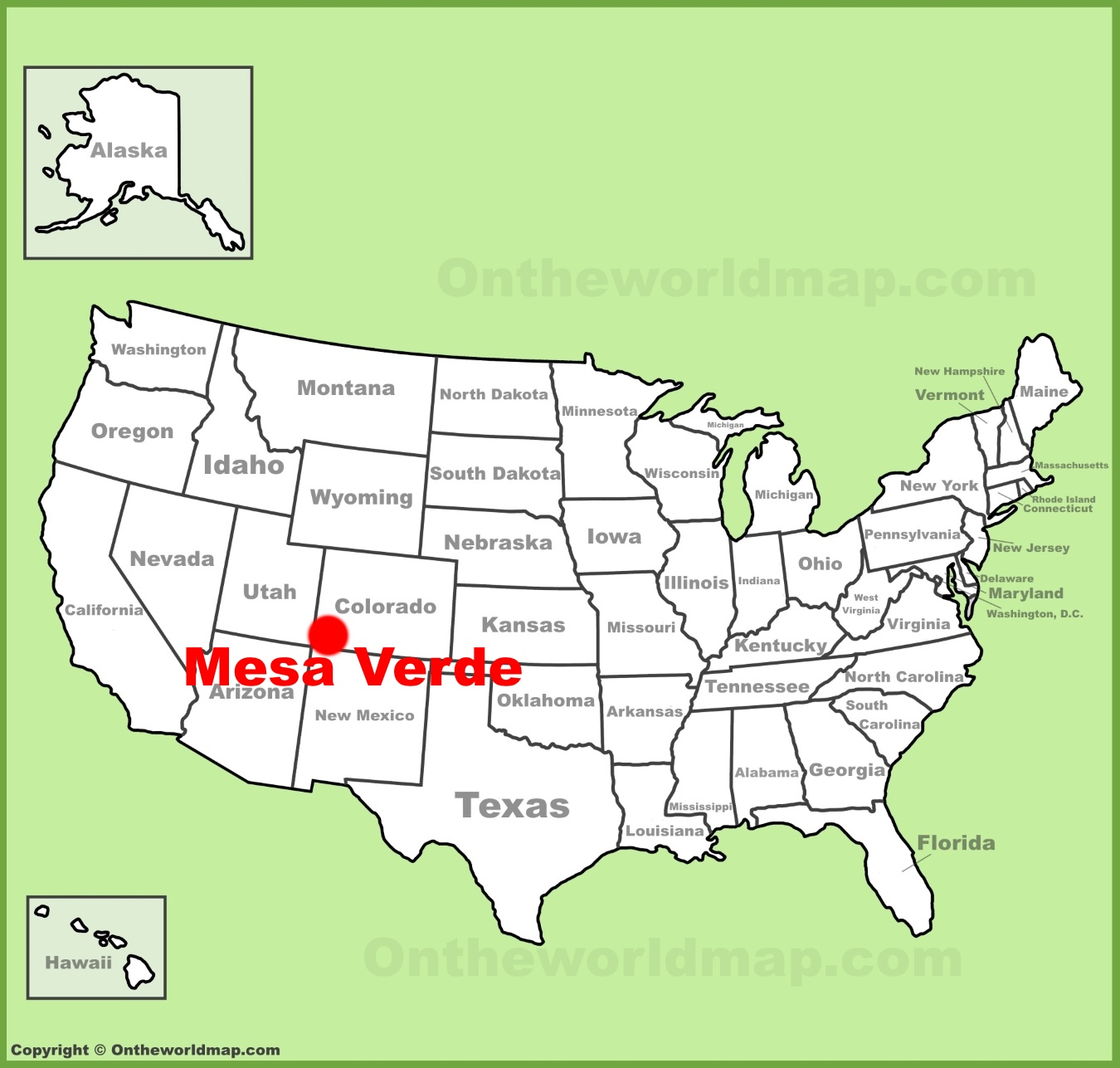 Mesa Verde location on the U.S. Map