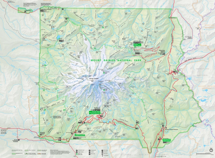 Large detailed tourist map of Mount Rainier