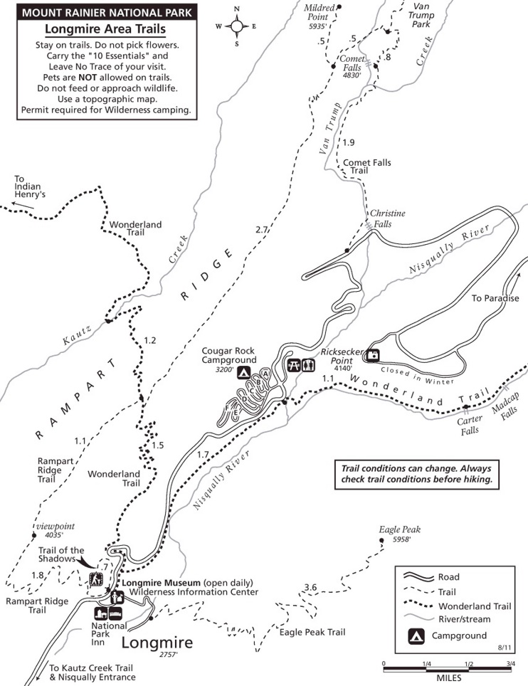 Longmire and Cougar Rock Area trails map