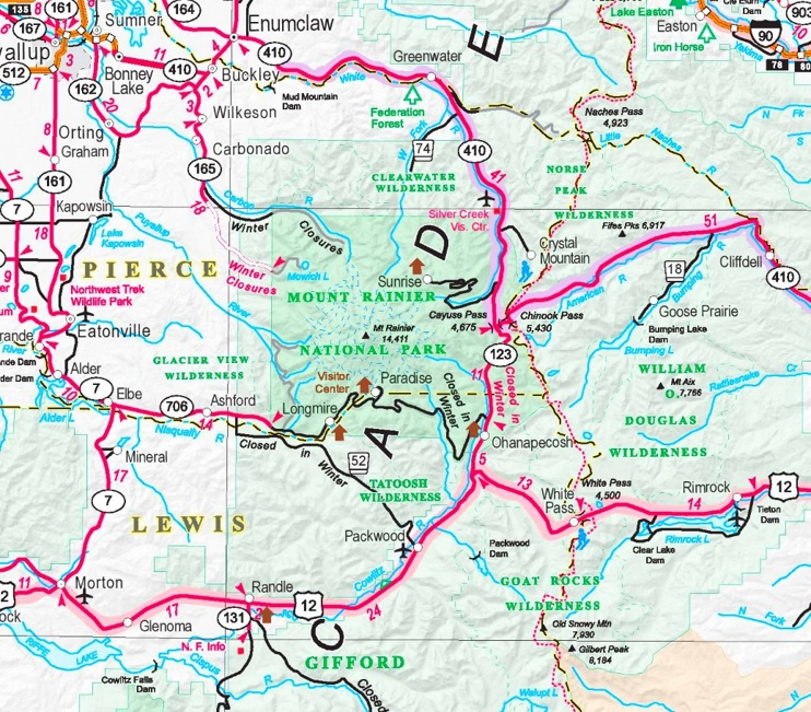 Mount Rainier area road map