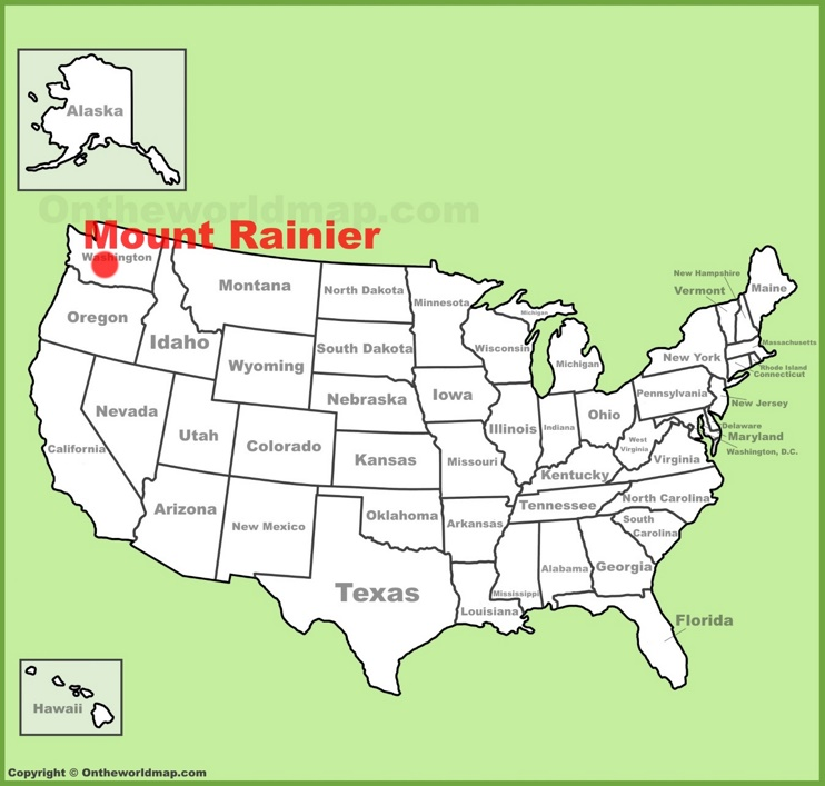 Mount Rainier location on the U.S. Map