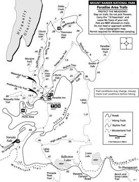 Mount Rainier Paradise Area trails map