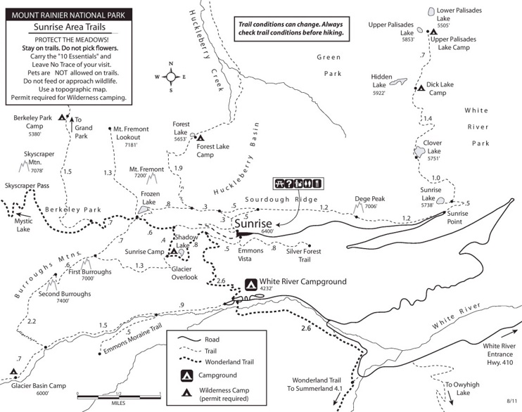 Mount Rainier Sunrise Area trails map