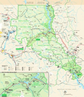 Large detailed tourist map of North Cascades