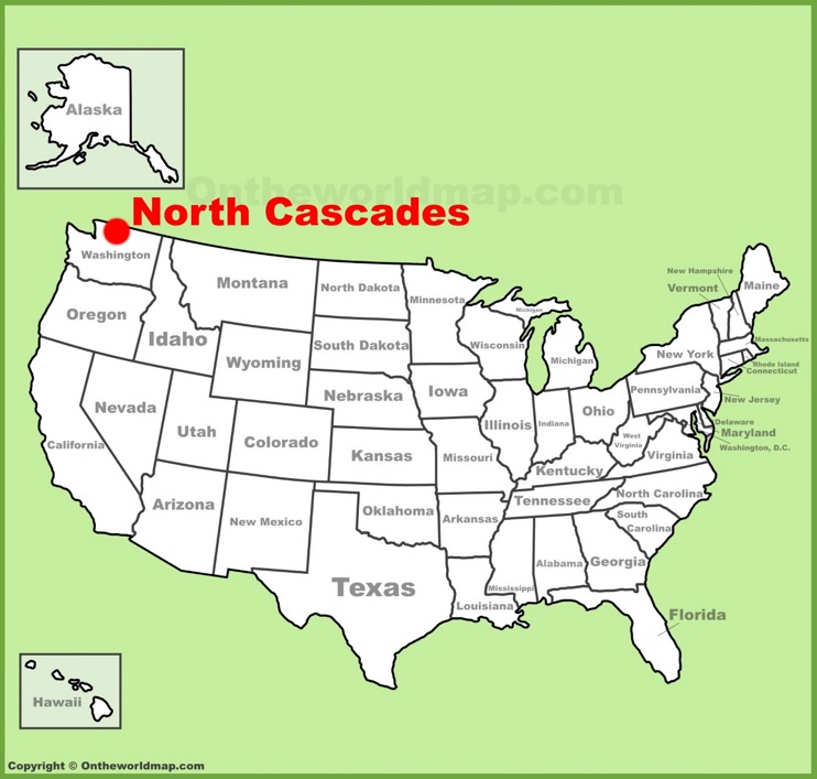 North Cascades location on the U.S. Map