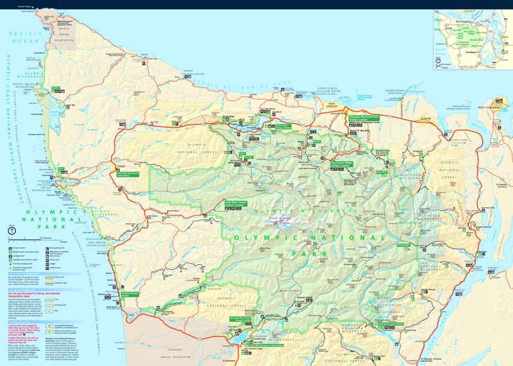 Large detailed tourist map of Olympic National Park