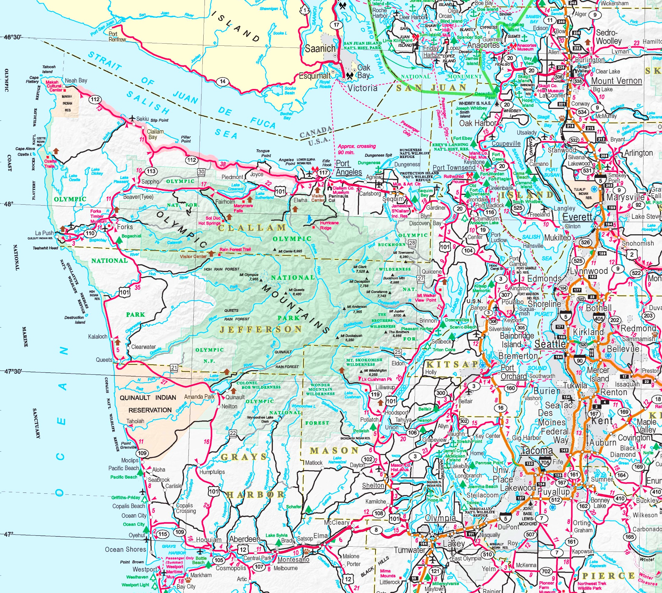 Olympic National Park area road map