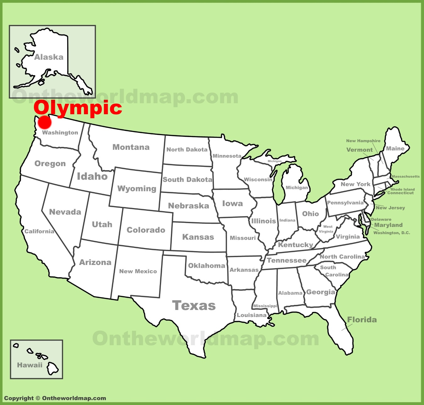 Olympic National Park location on the US Map