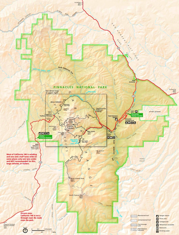 Large detailed tourist map of Pinnacles National Park