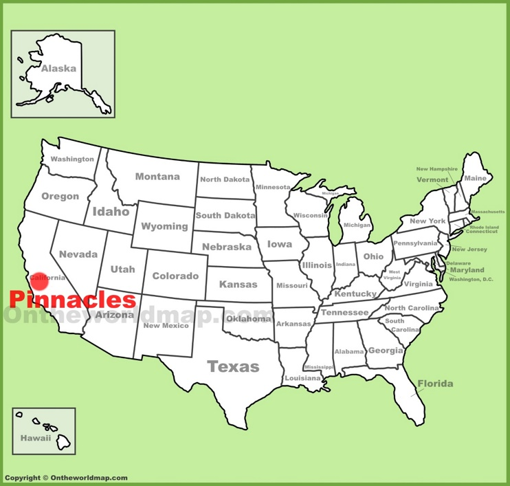Pinnacles National Park location on the U.S. Map