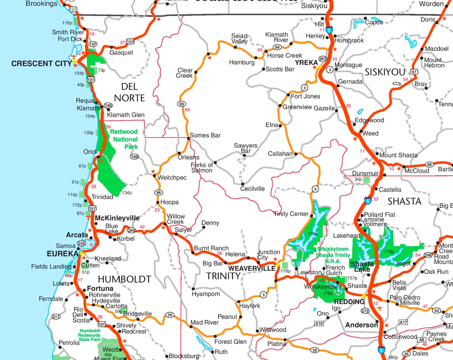 Redwood National Park area road map
