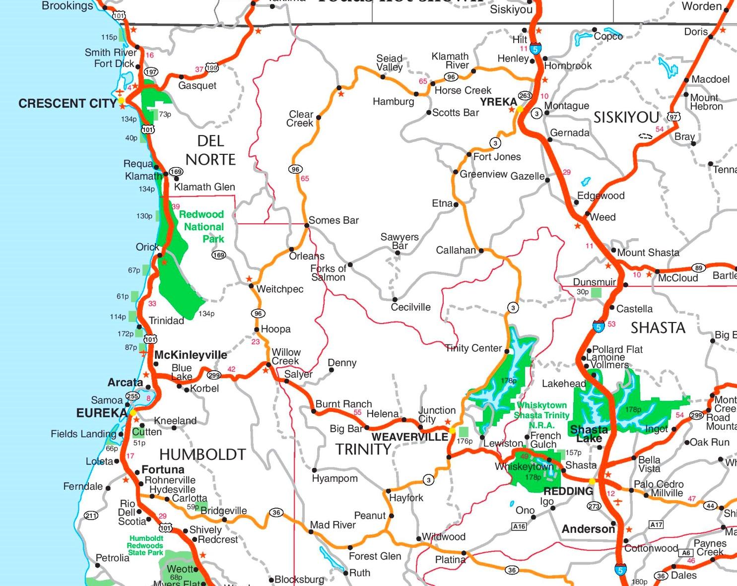 Redwood National Park Map Redwood National Park area road map Redwood National Park Map