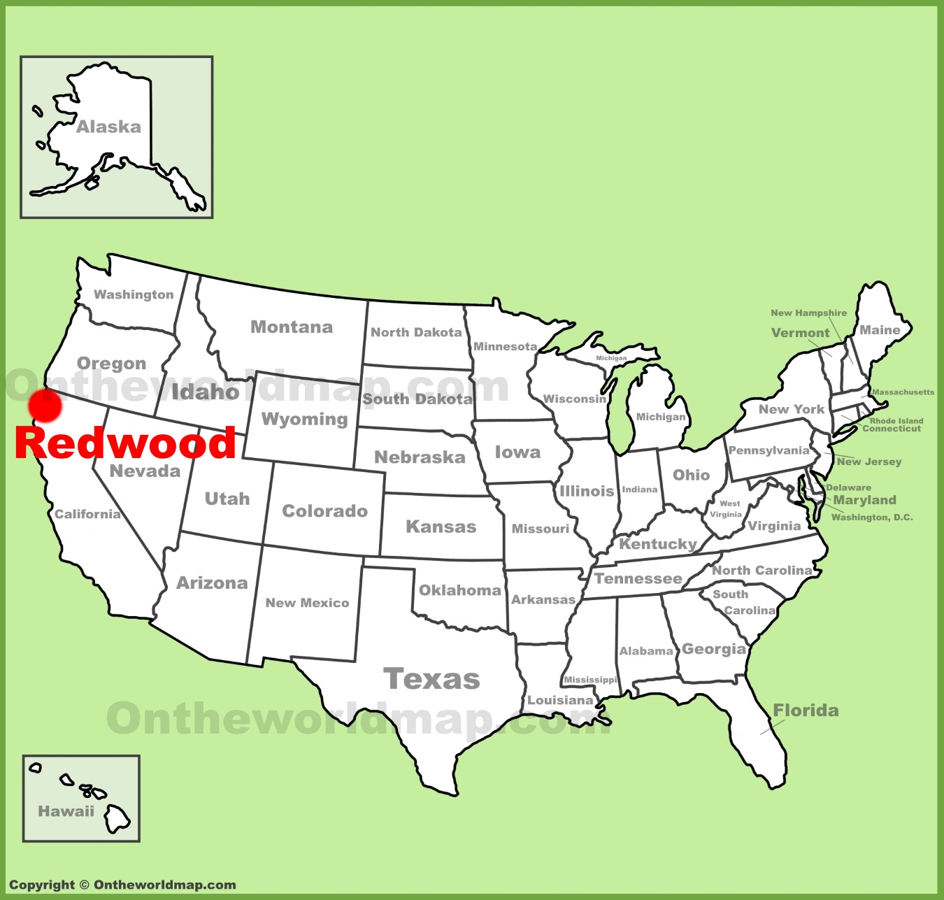 Redwood National Park location on the US Map