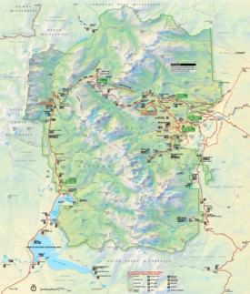 Large detailed tourist map of Rocky Mountain National Park