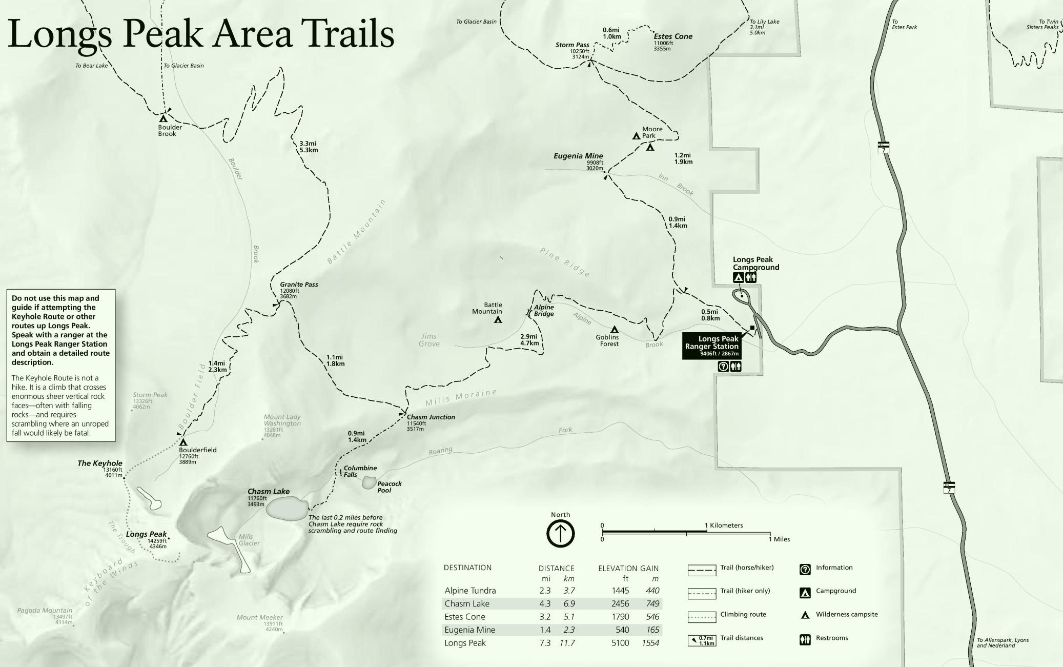 Rocky Mountain Longs Peak Area trails map
