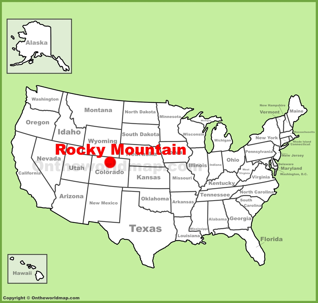 Rocky Mountain National Park Location On The U S Map