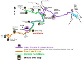 Rocky Mountain National Park shuttle bus map