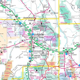 Saguaro National Park area road map