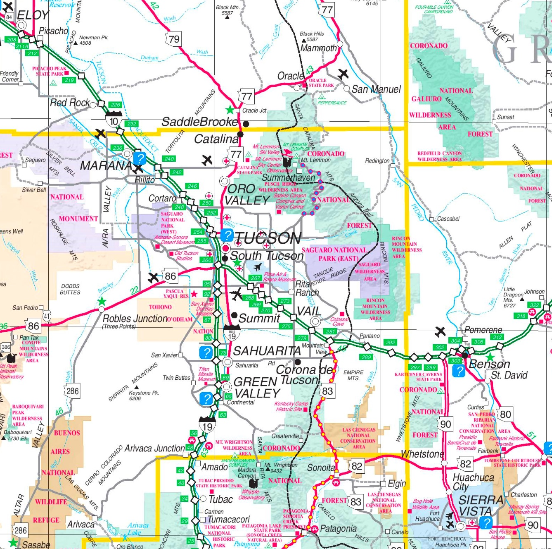 Saguaro National Park area road map