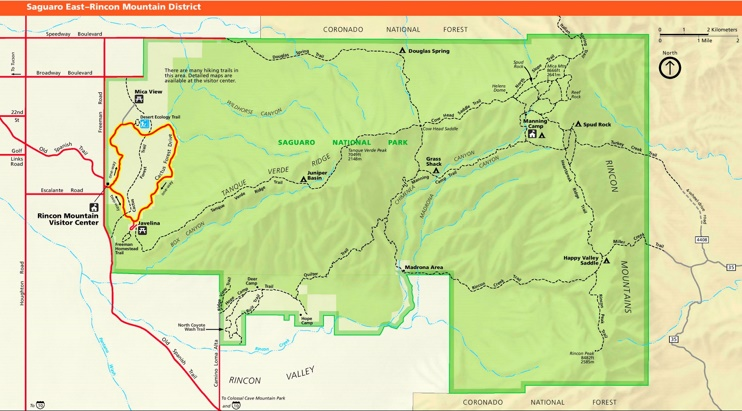 Saguaro National Park East Rincon Mountains tourist map