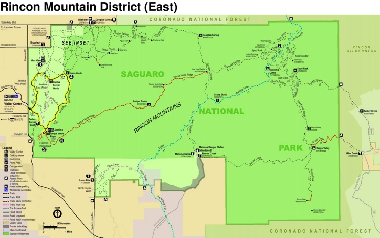 Saguaro National Park East Rincon Mountains trail map