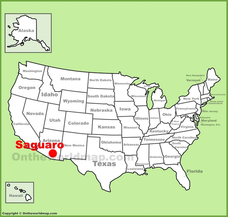 Saguaro National Park location on the U.S. Map